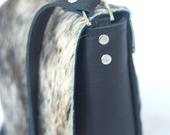 Leather Saddle Bag - Cowhide Bag - Black Crossbody - Leather Handbag - Gray Brindle Cowhide Fur Purse