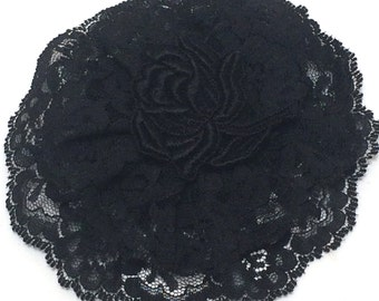 Black Lace Yarmulke, Black Lace Kippah, Jewish Head Covering for Women