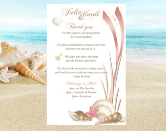 20 Itinerary, ceremony program, reception menu, welcome note, shower invitation, or save the date for Beach destination wedding