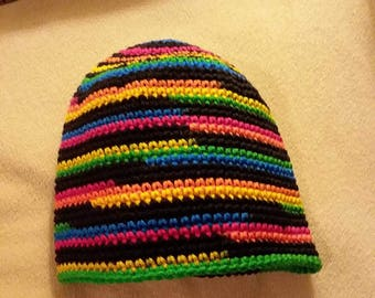 Beanie in Black and Neon