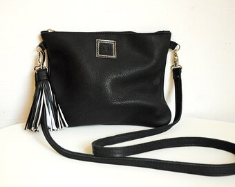 Leather crossbody bag with card holder, Black clutch bag, Leather zipper pouch