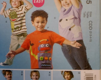 McCall's M6545 Child's, Boy, Girl Top Sewing Pattern New/Uncut Size 2-3-4-5