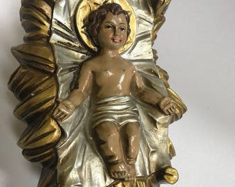 Vintage Baby Jesus Nativity Manger Fogurine Large Gold Florentine Paper Mache