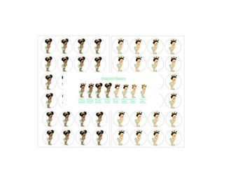 """Mint Green Princess Baby Shower Stickers  (48) 1  2/3"""" Stickers-2 Sheets of 24"""