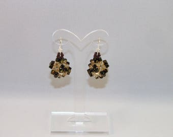 Earrings cube in Swarovski crystal bronze 2x golden shadow