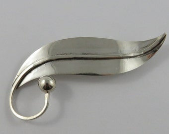 Mexican Taxco Sterling Silver Leaf Brooch