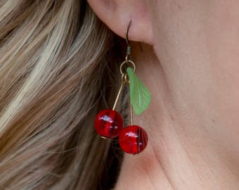 Cherry earrings brass bronze or silver - cherry earrings - French - customizable - style rockabilly / pinup