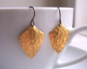 Golden Shield earrings - hammered golden brass - modern textured earrings - nickel free