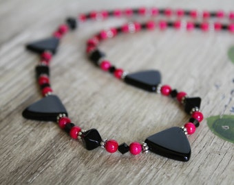 Hot Pink Fuchsia, Black, and Silver Triangle Necklace with SIlver Accents / Bold Jewelry / Gifts for Her / Hot Pink Necklace / Unique Gift