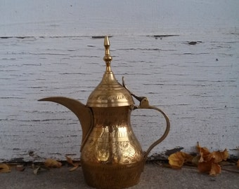 Indian Turkish Moroccan Pitcher with Lid - Etched Brass Pitcher with Hinged Lid