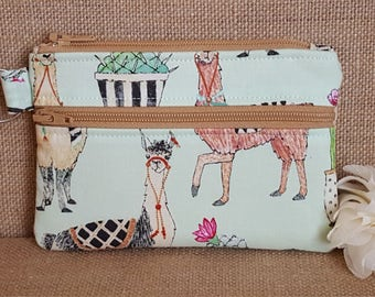 Keychain Wallet, Mini Wallet, Coin Purse With Zippered Pocket in Lovely Llamas Print