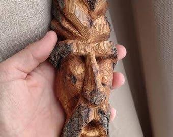Wood spirit, wood carving, spirit face, driftwood art, driftwood, knife carving, wood sculpture, sculpture, art, Montana, bark carving