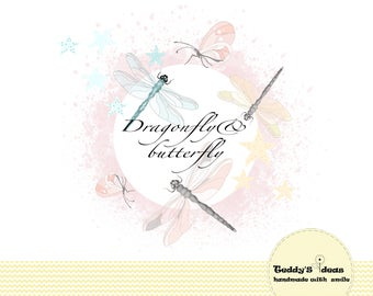 Dragonfly clipart, butterfly cliart