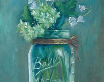 Jar of Lilies of the Valley,  11x 14, oil painting, original art, ready to hang,