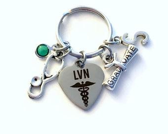 LVN Keychain Graduation Gift for Nurse Keychain, Licensed Vocational Key Chain, Grad Present Stethoscope Keyring women Initial Birthstone