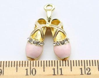 3 Rhinestone Pink Ballet Shoes