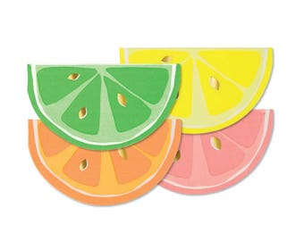 Neon Citrus Napkins with Shiny Gold Foil (16 ct), Fruit Party, Meri Meri, Tropical Party Decor, Orange, Grapefruit, Lemon, Lime Slices