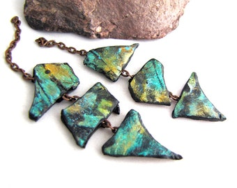 Polymer Triple Shard Chain Danglies Earring Components Lightweight Aqua Teal Golden Black Textured On Small Copper Chain pair (2)