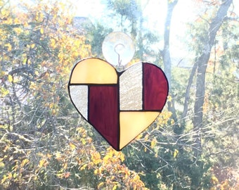 Stained Glass Patchwork Heart Suncatcher (purple/yellow/clear)