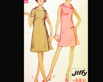 Vintage 60s Sleeveless Asymmetrical Funnel Collar EASY Plus Size Sewing Pattern 8159 B43