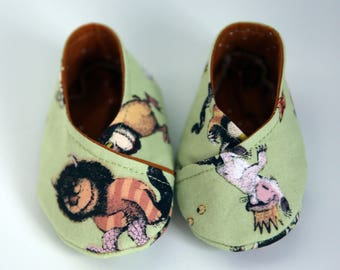 Where The Wild Things Are Kimono Shoes  - Mint Wild Things fabric and Cotton + Steele Sprinkle in Corduroy fabrics