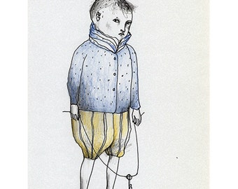 Boy art drawing original illustration people figurative standing portrait