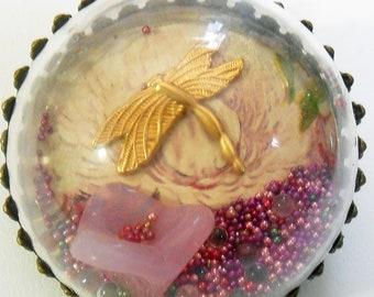 Vintage Postcard Dragonfly Rose  Diorama Pendant OOAK Antique Water Globe