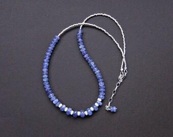 Tanzanite necklace, December birthstone necklace, tanzanite silver necklace, cornflower blue necklace, Thai Karen silver necklace