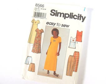 Sewing Pattern for Dress or Top, Pants or Shorts, Simplicity 8566, Sizes 12 and 14, Bust  36 - 38 Inches