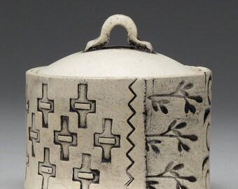 Petit récipient en céramique, à couvercle bocal, Home Decor, inspiré de la Nature, fait à la main, patine finition, unique en son genre