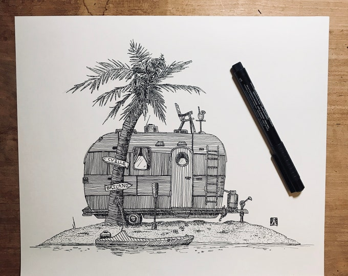 KillerBeeMoto: Original Pen & Ink Sketch of Vintage Trailer On An Island (Limited Prints Available As Well)