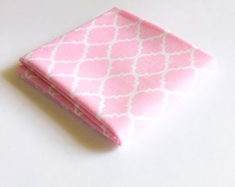 Pink Quatrefoil Fabric, Pastel Pink Geometric Moroccan Pattern  Ideal for Crafts by the Fat Quarter, Half Yard or Yard