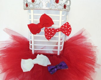 hair bow organizer, hair clip display, hair clip holder, hair bow holder, red princess decor, tutu decoration, red tiara, red bow holder