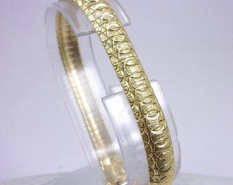"Solid 14K Yellow Gold Fancy Heavy Omega Link Bracelet 7"", 17.5 grams, 8mm Italy"