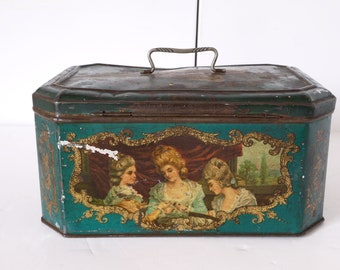 French Vintage metal box tin Advertising Tin toffee candy Home storage with portraits of women english