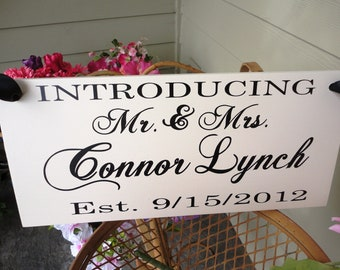 Wedding Sign. Here Comes the Bride with Introducing the Bride and Groom with Names & Date. 8 X 16 inches, 2-Sided. Flower Girl, Ring Bearer.