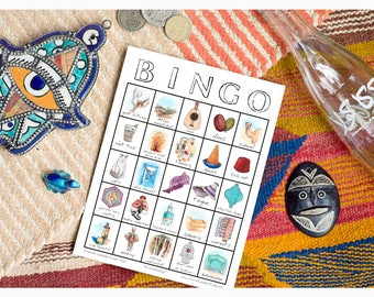 Morocco, Travel Bingo - Printable Travel Game, Digital Download Bingo Card, Traveler Gift, Explorer, Wanderlust
