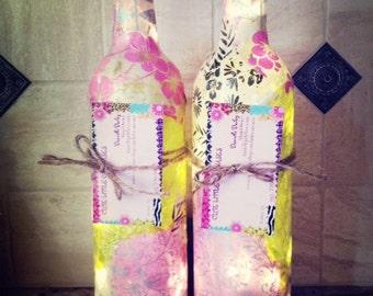 Wine Bottle Lights, Wine Bottle Lamp, Decorative Wine Bottles, Lit Wine Bottle, Unique Lamps, Decoupage Wine Bottle
