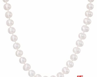 6mm - 7mm Genuine White Freshwater Cultured AAA Quality Pearl Necklace -18""