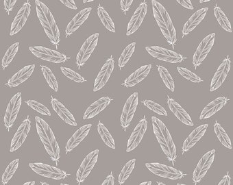 Gray Feathers Fabric by Riley Blake Designs and Simple Simon and Co Quilt Fabric - Gray and White Quilting Cotton - Sewing Projects Apparel