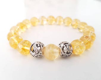 Women, citrine bracelet, 925 sterling silver initials