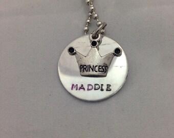 Custom Princess Charm Necklace, Girl, Women