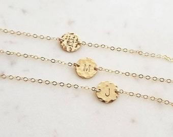 Initial Bracelet, Tiny Gold Hammered Disc Bracelet, Dainty Gold Filled Minimalist Bracelet // Gold Fill, Rose Gold, Sterling Silver