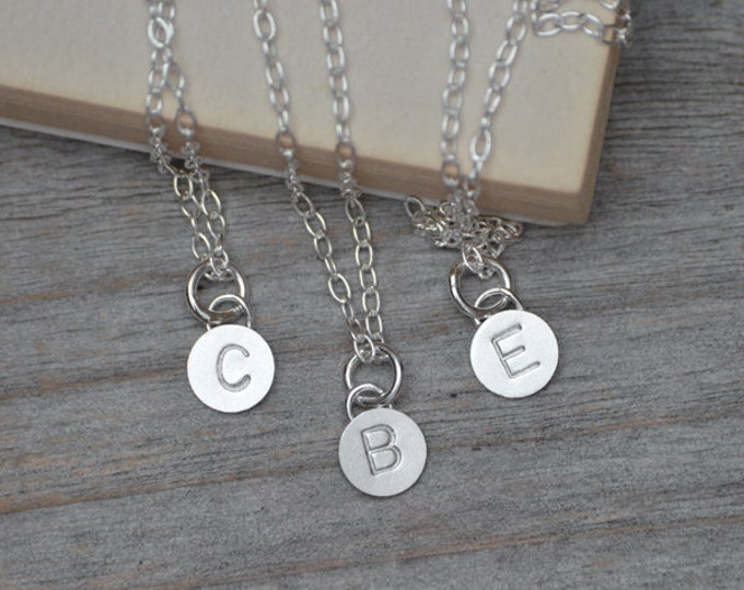 Personalized Initial Necklace In Sterling Silver, Message Necklace, Bridesmaid Necklace, Friendship Necklace