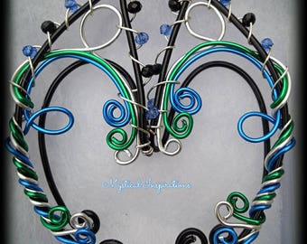 Elf ears Fairy ears Earcuffs  Black with Green Blue and Silver Unique Loop Design