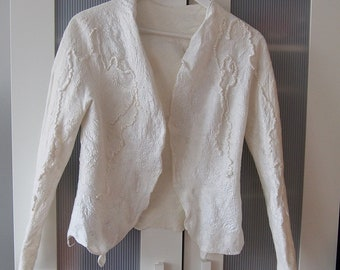 Bridal silk jacket - pearl gloss - lightweight and thin - nuno felted silk and a little of softest wool