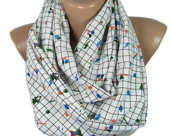 Geometric Scarf Geometry Infinity Scarf   Birthday Gift For Friend For Teacher Back to School Fashion Accessories Holiday Gift
