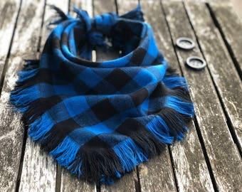 """The """"blue buffalo"""" frayed blanket dog bandana"""