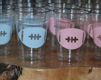 24 Football 10, 12 oz. or 16 oz. clear party cup for your party fun. Kids party,gender reveal, football or super bowl. Bin-B-119