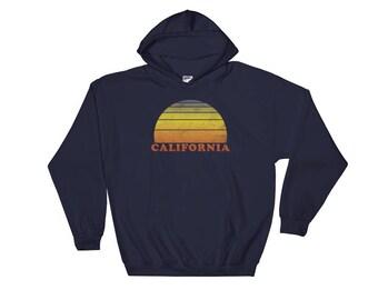 California Retro Vintage Hooded Sweatshirt  70s Throwback Surf Hoodie